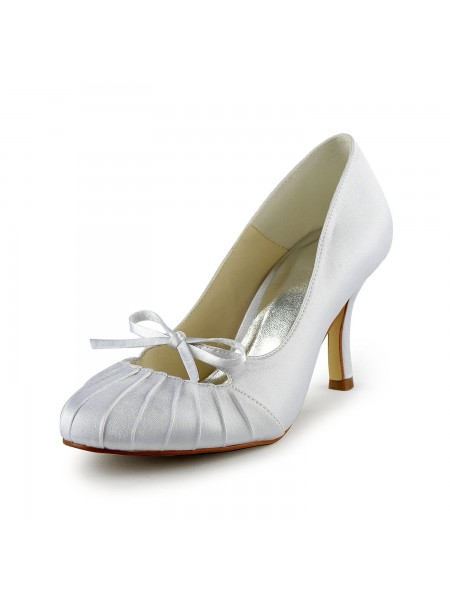 Fashion Trends Women's Satin Stiletto Heel Closed Toe Pumps White Wedding Shoes With Bowknot Ruched