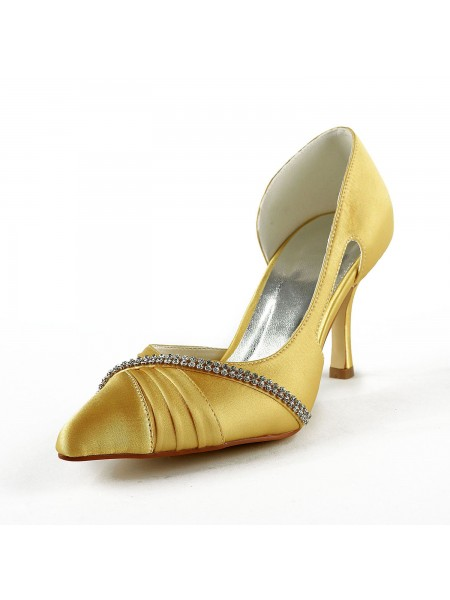 The Most Trendy Women's Satin Stiletto Heel Closed Toe Pumps Gold Wedding Shoes With Rhinestone