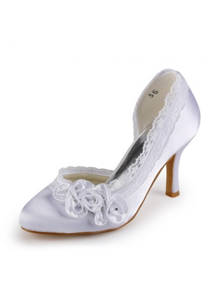 The Most Trendy Women's Satin Stiletto Heel Closed Toe White Wedding Shoes With Rhinestone