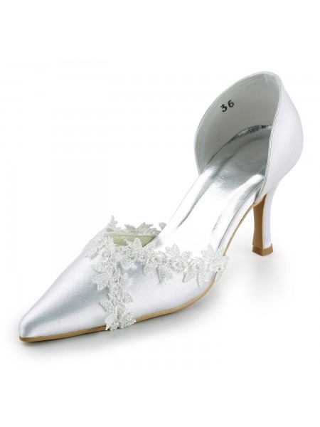 The Most Trendy Women's Satin Stiletto Heel Closed Toe Pumps White Wedding Shoes With Lace