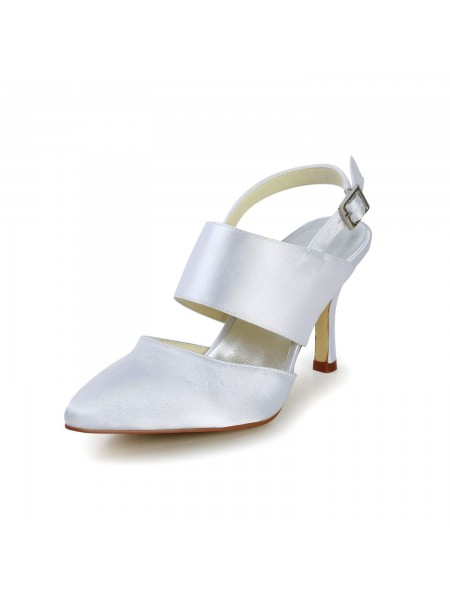 The Most Fashionable Women's Satin Stiletto Heel Closed Toe With Buckle White Wedding Shoes