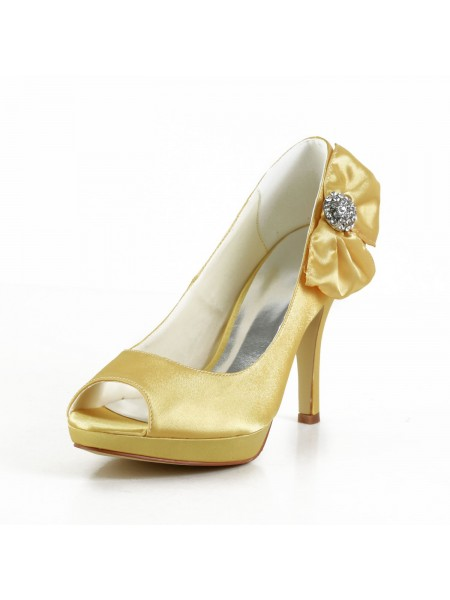 The Most Fashionable Women's Satin Stiletto Heel Peep Toe Platform Gold Wedding Shoes With Bowknot