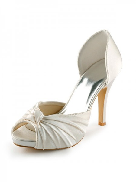 The Most Fashionable Women's Satin Stiletto Heel Peep Toe Platform Pumps White Wedding Shoes With Bowknot