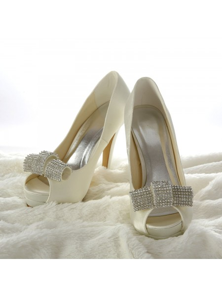 The Most Trendy Women's Satin Stiletto Heel Peep Toe Platform Ivory Wedding Shoes With Rhinestone