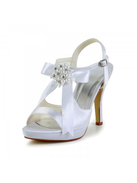 The Most Fashionable Women's Satin Stiletto Heel Peep Toe Platform Sandals White Wedding Shoes With Bowknot