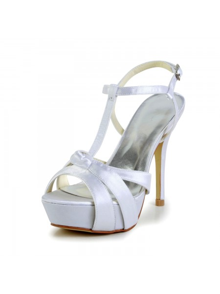 The Most Stylish Women's Satin Stiletto Heel Peep Toe Slingbacks Sandal White Wedding Shoes With Buckle