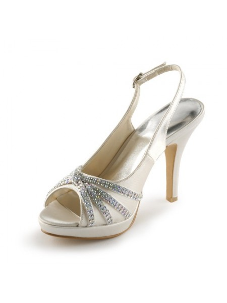 The Most Fashionable Women's Satin Stiletto Heel Peep Toe Platform With Rhinestone Champagne Wedding Shoes