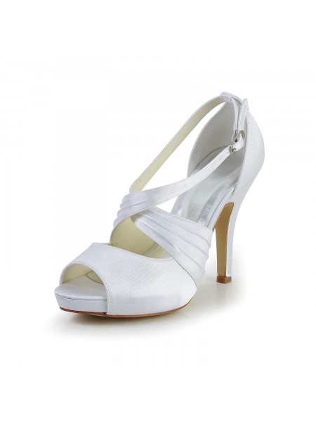 The Most Trendy Women's Satin Stiletto Heel Peep Toe With Buckle White Wedding Shoes