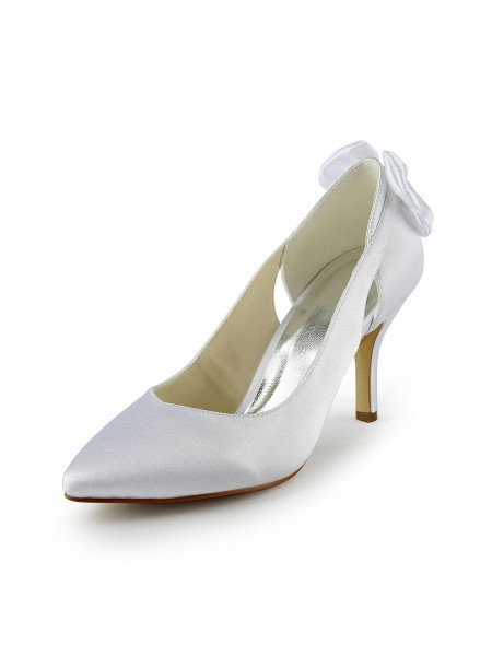 The Most Trendy Women's Satin Stiletto Heel Pumps With Hollow-out White Wedding Shoes