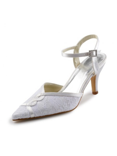 The Most Fashionable Women's Satin Stiletto Sandals With Stitching Lace White Wedding Shoes