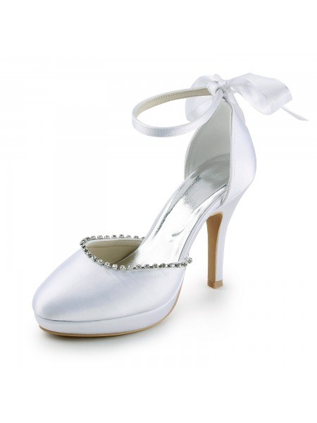 The Most Fashionable Women's Satin Stiletto Heel Closed Toe with Rhinestones White Wedding Shoes