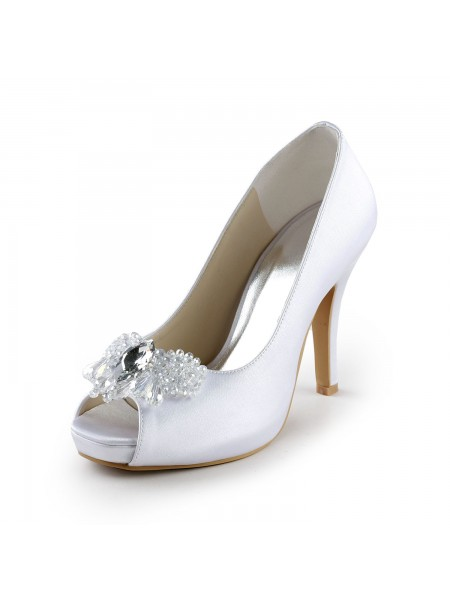 The Most Trendy Women's Satin Upper Stiletto Heel Peep Toe Pumps with Rhinestone White Wedding Shoes
