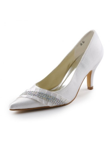 The Most Fashionable Women's Satin Stiletto Heel Pointed toe With Rhinestone White Wedding Shoes