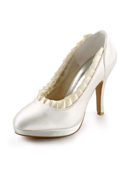 The Most Fashionable Women's Satin Upper Stiletto Heel Pumps With Ruffles Ivory Wedding Shoes