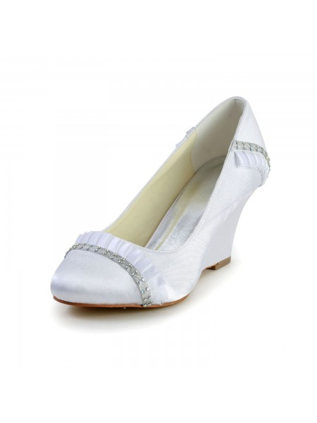 The Most Trendy Women's Satin Wedge Heel Wedges Closed Toe White Wedding Shoes