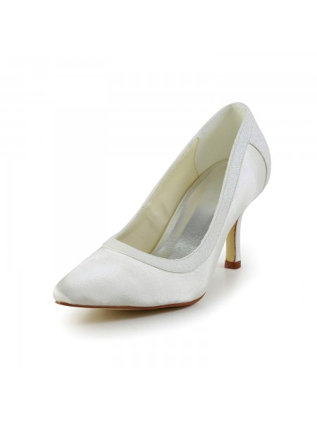 The Most Fashionable Women's Simple Satin Stiletto Heel Closed Toe White Wedding Shoes