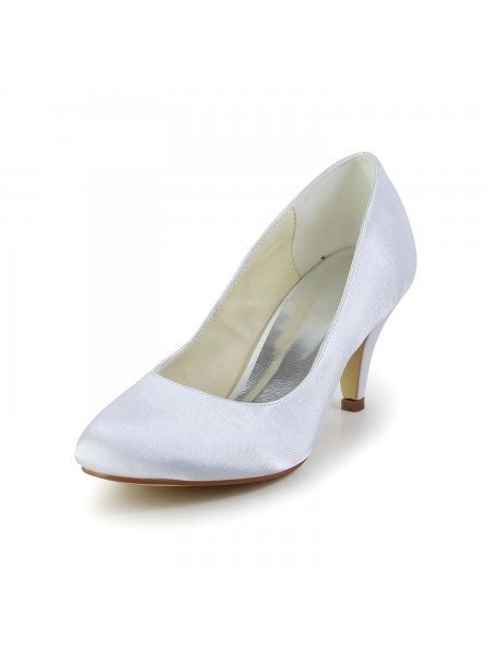 Fashion Trends Women's Simples Satin Cone Heel Closed Toe White Wedding Shoes