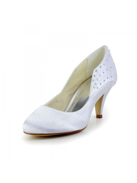 Fashion Trends Women's Simple Satin Closed Toe Cone Heel White Wedding Shoes With Rhinestone