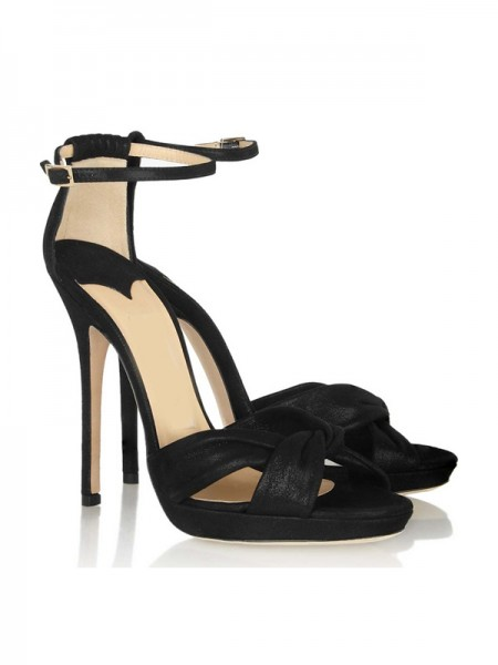 The Most Fashionable Women's Stiletto Heel Satin Mary Jane Platform Peep Toe Sandals Shoes