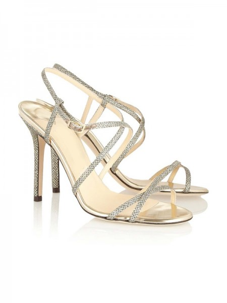 The Most Trendy Women's Peep Toe Stiletto Heel With Buckle Sandals Shoes