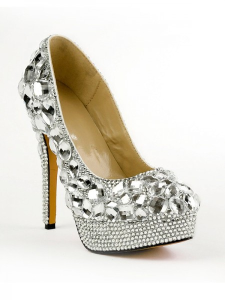 The Most Fashionable Women's Closed Toe Stiletto Heel Platform Platforms Shoes With Rhinestones