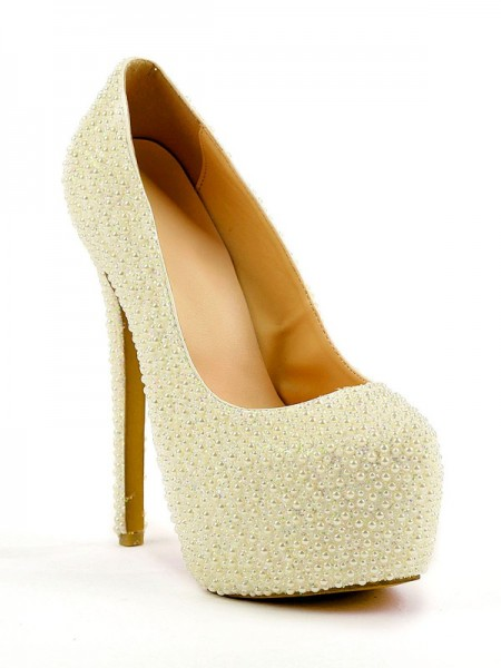 The Most Stylish Women's Stiletto Heel Closed Toe Platform With Pearl High Heels
