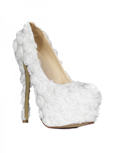 The Most Stylish Women's Stiletto Heel Closed Toe Platform With Flowers White Wedding Shoes
