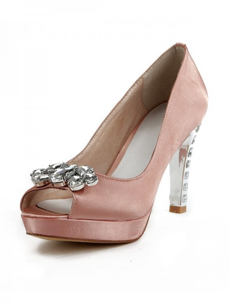 The Most Trendy Women's Silk Peep Toe Stiletto Heel Platform With Rhinestone Platforms Shoes
