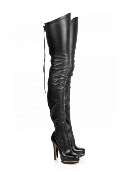 The Most Stylish Women's Elastic Leather Stiletto Heel Platform Over The Knee Black Boots
