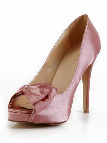 The Most Fashionable Women's Stiletto Heel Silk Peep Toe With Bowknot Platform Watermelon Wedding Shoes