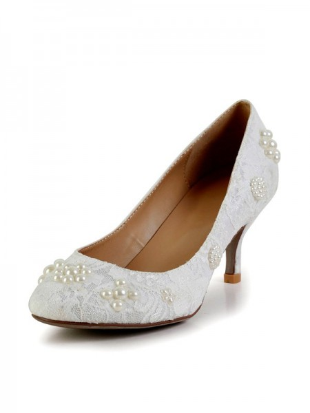 The Most Fashionable Women's Cone Heel Silk Closed Toe With Pearl High Heels