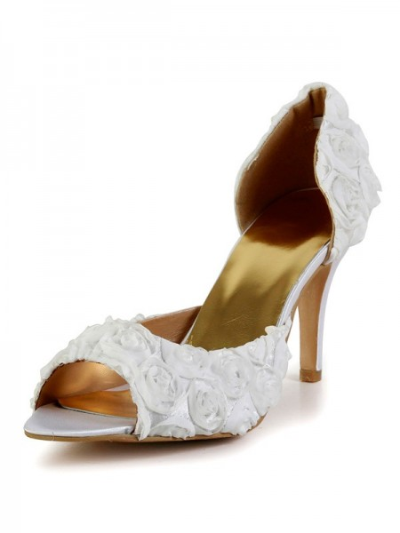 The Most Fashionable Women's Stiletto Heel Silk Peep Toe With Flower White Wedding Shoes