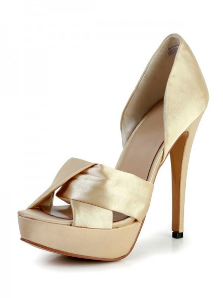 The Most Fashionable Women's Stiletto Heel Silk Peep Toe Platform Gold Wedding Shoes