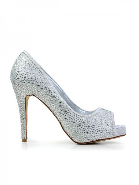 The Most Trendy Women's Stiletto Heel Flock Peep Toe With Rhinestone Platform Platforms Shoes