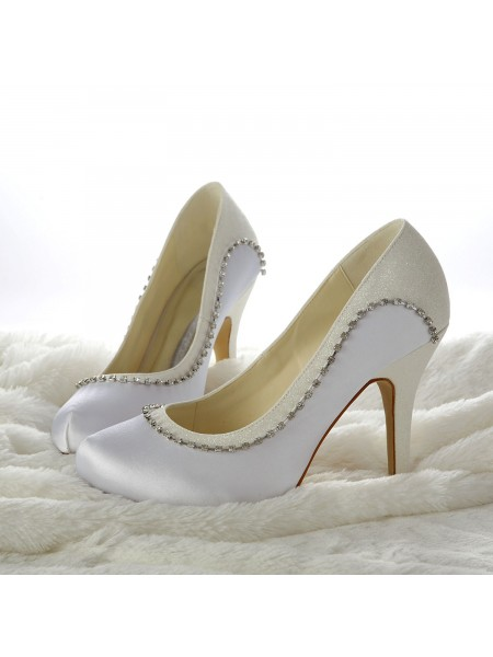 The Most Fashionable Women's Stiletto Heels Closed-toe Beading White Wedding Shoes