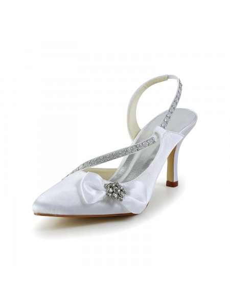 The Most Fashionable Women's Satin Closed Toe Spool Heel With Rhinestone Bowknot White Wedding Shoes