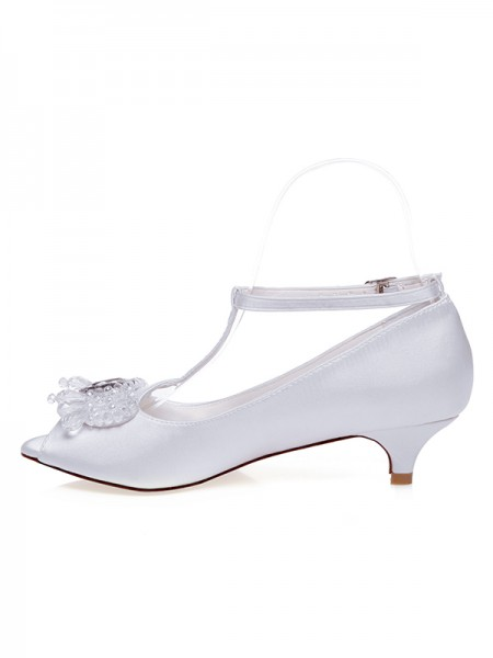 The Most Stylish Women's Satin Peep Toe Cone Heel Wedding Shoes