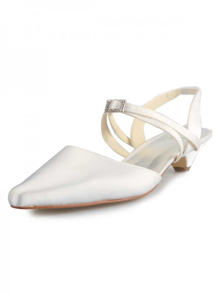 The Most Trendy Women's Satin Kitten Heel Closed Toe With Buckle White Wedding Shoes