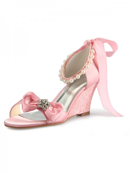 The Most Trendy Women's Satin Wedge Heel Peep Toe With Rhinestone Pearl Bowknot Pink Wedding Shoes