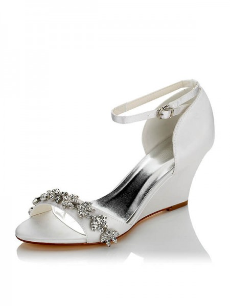 Stylish Satin PU Peep Toe Wedge Heel Wedding Shoes For Women