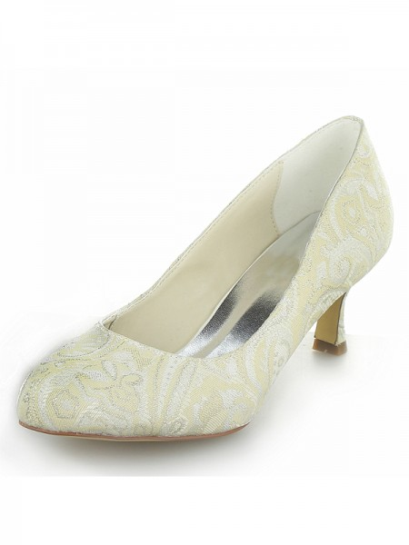 Fashion Trends Women's Satin PU Closed Toe Spool Heel Wedding Shoes