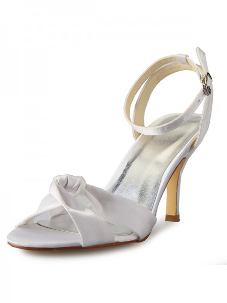 The Most Trendy Women's Stiletto Heel Peep Toe Satin With Buckle Mary Jane White Wedding Shoes