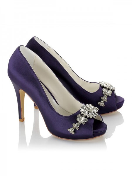 Fashion PU Peep Toe Stiletto Heel Wedding Shoes For Women