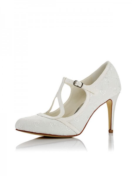Fashion Satin PU Closed Toe Stiletto Heel Wedding Shoes For Women