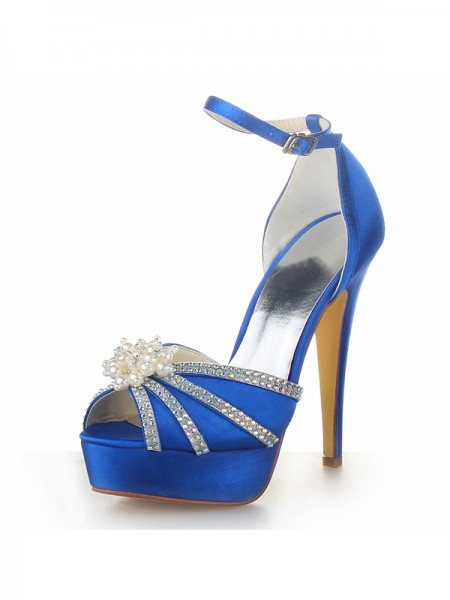 The Most Trendy Women's Satin Stiletto Heel Platform Peep Toe With Pearl Royal Blue Wedding Shoes