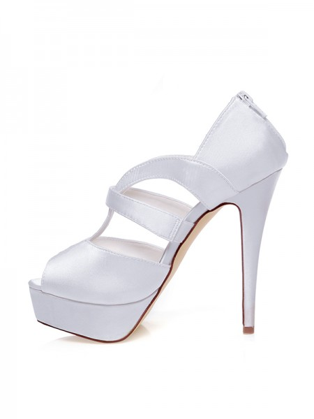 The Most Fashionable Women's Satin Peep Toe Zipper Stiletto Heel Wedding Shoes