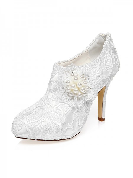 Fashion Trends Women's Satin Closed Toe Stiletto Heel Flower Wedding Shoes