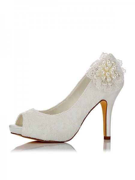 Stylish PU Peep Toe Stiletto Heel Wedding Shoes For Women