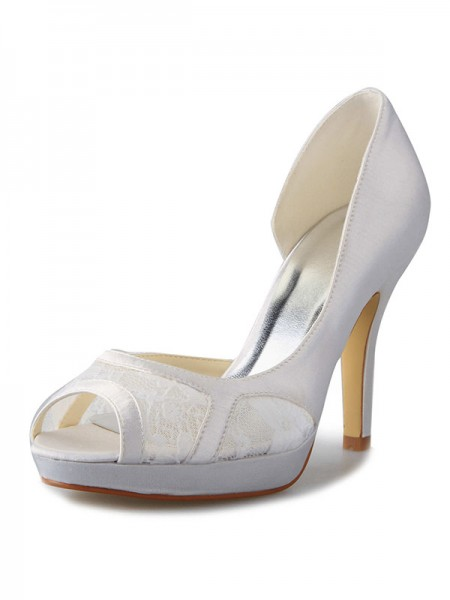 The Most Trendy Women's Stiletto Heel Satin Platform Peep Toe With Lace White Wedding Shoes