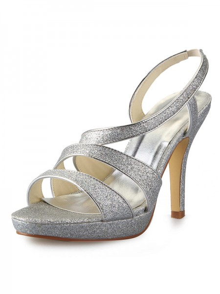 The Most Fashionable Women's Cone Heel Platform Satin Peep Toe With Sparkling Glitter Sandals Shoes